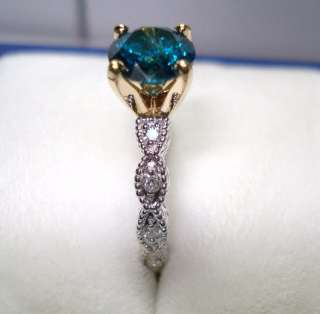 BLUE & WHITE DIAMONDS ENGAGEMENT RING 0.85ct TWO TONE