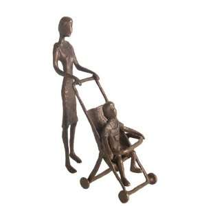 Lady With Baby Stroller Cast Bronze Sculpture Figurine
