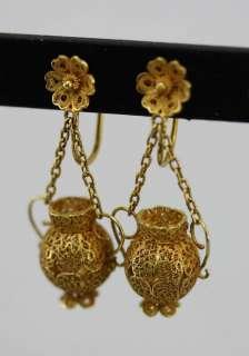 Estate Vintage 14K Yellow Gold Art Nouveau Filigree Dangle Earrings