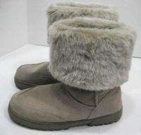 Rampage Ashlee Womens Plush Tan Suede Snow Winter Ankle High Boots Sz
