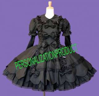 Sweet gothic lolitastunning black cute bows lace dress