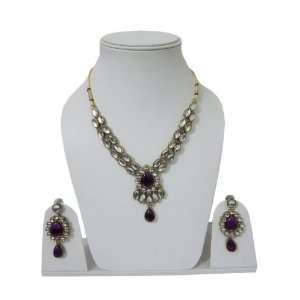 Kundan Fashion Jewelry Set Bollywood Necklace Earrings India Jewelry