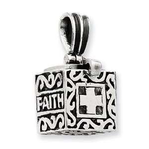 Sterling Silver Faith & Hope Prayer Box Pendant Jewelry