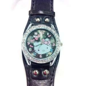 Hello Kitty Watch (Black Wide Band) Watch with Rhinestone