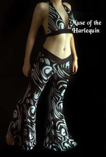 Black White Gothic Tribal Belly Dance Pant Fusion S