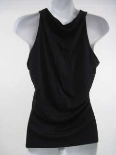AUGUST SILK Black Ruffled Sleeveless Top Shirt Size S