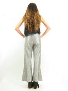 Vtg 60s Silver METALLIC High Waist BELL BOTTOM Rocker Goth Glam Pants
