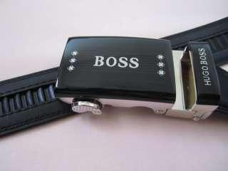 BOXED NEW HUGO BOSS Mens Leather Belt Easy Lock Release