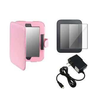 Pink Leather Case Cover+Screen Protector+Wall Charger For Nook