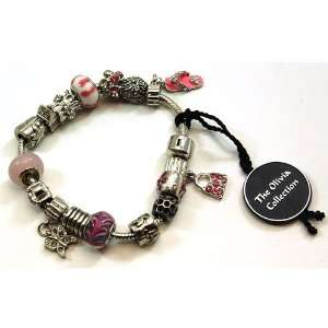TOC BEADZ Branded Pink Shopping Bead Bracelet Jewelry