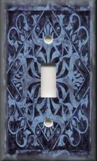 Plate Cover   Wall Decor   Tuscan Tile Pattern   Midnight Blue
