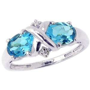 White Gold Crisscross Twin Oval Gemstone Ring Swiss Blue Topaz, size5