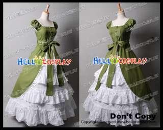 Colonial Lolita Green White Prom Dress Ball Gown Gothic Costume