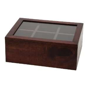 Lipper 2196 Cherry Wood 6 Compartment Tea Box with Clear