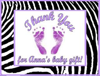 Girl Purple Zebra Print Baby Shower Thank You Cards