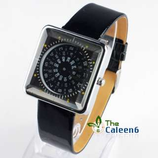 NEW Quartz Square Lady Girl Spin Watch 4 Colors 9373