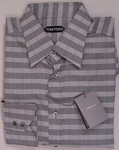 TOM FORD SHIRT $595 BLACK/WHITE CROSS STRIPE OXFORD DRESS SHIRT 17.5