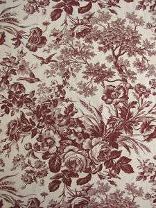 Antique French toile fabric floral foliage brown c1890