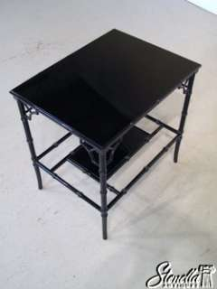 Pair Black Lacquer Bamboo Style Decorator Occasional Living room Table