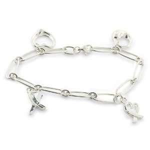 Inspired Sterling Silver Charm Link Bracelet Designer Inspired Silver