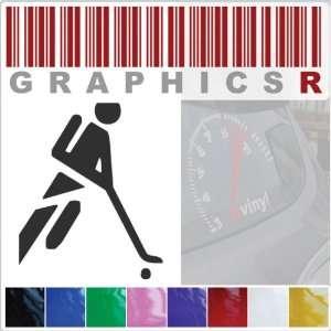 Sticker Decal Graphic   Hockey Player Puck Stick Sport Stick Figure