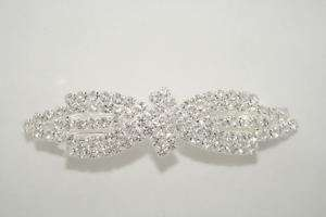 WEDDING BRIDAL PROM CLEAR CRYSTAL HAIR CLIP BARRETTE