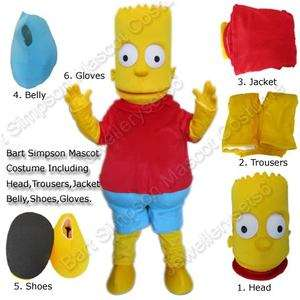 Adult Cartoon Bart Simpson Mascot Costume Fancy Dress