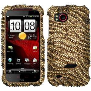 FOR HTC Droid Incredible HD ADR6425 Tiger Skin Diamante Bling Cover