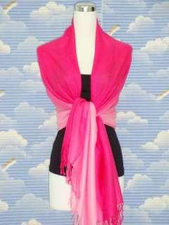 New Two Tone Deep Pink Pashmina Silk Scarf Shawl n007