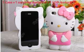 Silicone Hello kitty Back Case Cover Skin For iPhone 4S 4G pink pin
