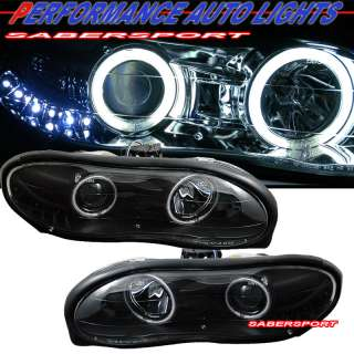 98 02 CHEVY CAMARO BLACK PROJECTOR HEADLIGHTS W/ CCFL HALO RIMS & LED