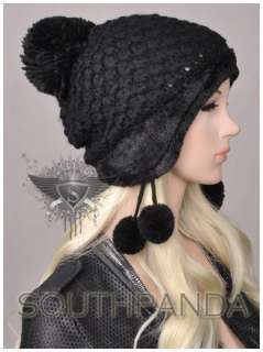 Design Girl Beret Beanie Hat Earflaps Ski Faux Fur Soft Warm