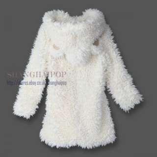 Fur Hoodie Women Jumper Coat Jacket Bear Ear Bunny Rabbit Costume New
