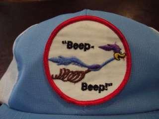 Vtg Road Runner Beep Beep Adjustable Snapback Trucker Hat Cap
