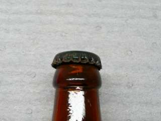 Embossed Picnic Beer Bottle alcohol brown old with cap vintage retro