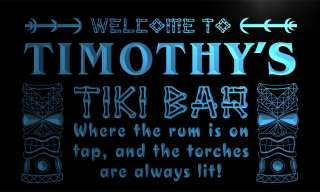 pm027 b Timothys Tiki Bar Open Neon Beer Sign