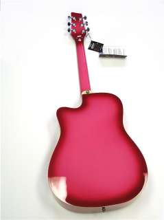 NEW PRO QUALITY GIRLS PINK ACOUSTIC 6 STRING CUTAWAY GUITAR