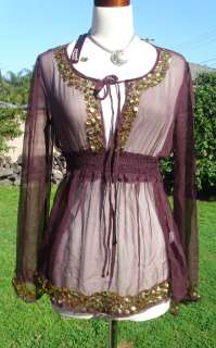 Burgundy SILK Gold Sequin SHEER Belly Dancing blouse M
