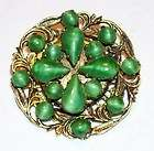 VINTAGE JEWELRY ART NOUVEAU GREEN STONE BRASS RING