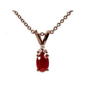 14k Blacken White Gold Oval Ruby & Diamond Pendant Necklace Ct.tw 0.65