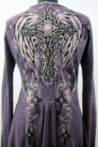 VOCAL Purple Womens Sweater Top Rhinestones Gothic Cross Wings Jacket