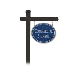 COMMERCIAL SIGN OVAL BLACK POST MOUNTED COBALT BLUE SIGN