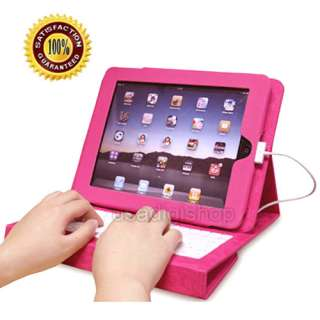 Pink iPad Leather Case with Built in Keyboard Built in 2 storage