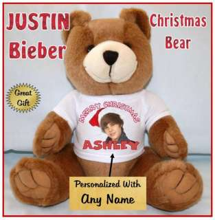 JUSTIN BIEBER 13 Christmas Teddy Bear Personalized T Shirt GREAT GIFT