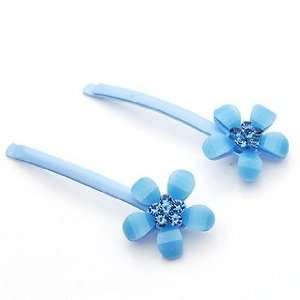 Blue Flowers Pattern Resin Rhinestone Hair Bobby Pins /Sticks /Clips