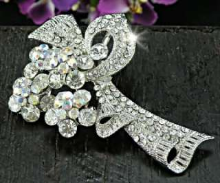Bridal Flower Bouquet with Clear Swarovski Crystals 18KGP Brooch Pin