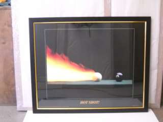 Hot Shot Poster Billiards Pool Table cue ball framed