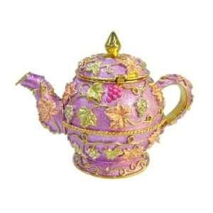 Light Purple Flower Teapot   Jewelry Trinket Box Swarovski