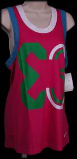 NIKE FIT DRY Womens NATIONAL E3 Pink RIB TANK TOP L NEW