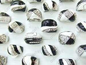 wholesale mixed lots 25pcs white black enamel cz crystal Silver Tone